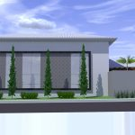 Perspectiva de Residência Neoclássica Vista Lateral por Arquitetos